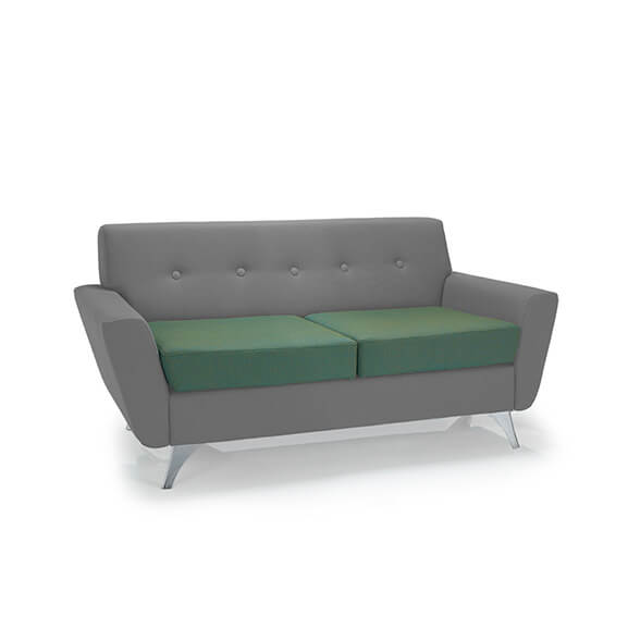 vitality 2 seater sofa chrome frame two toned upholstery pulse design