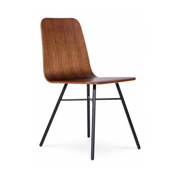walnut veneer black 4 leg lolli cafe chair