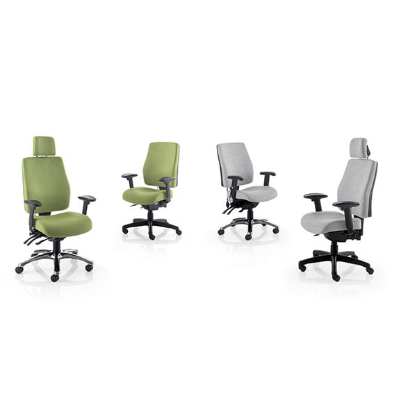 performance computer chairs, grey and green with and without headrests from PSI Seating